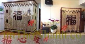 Rèm hạt gỗ Bồ Đề; rèm gỗ trang trí bàn thờ gia tiên